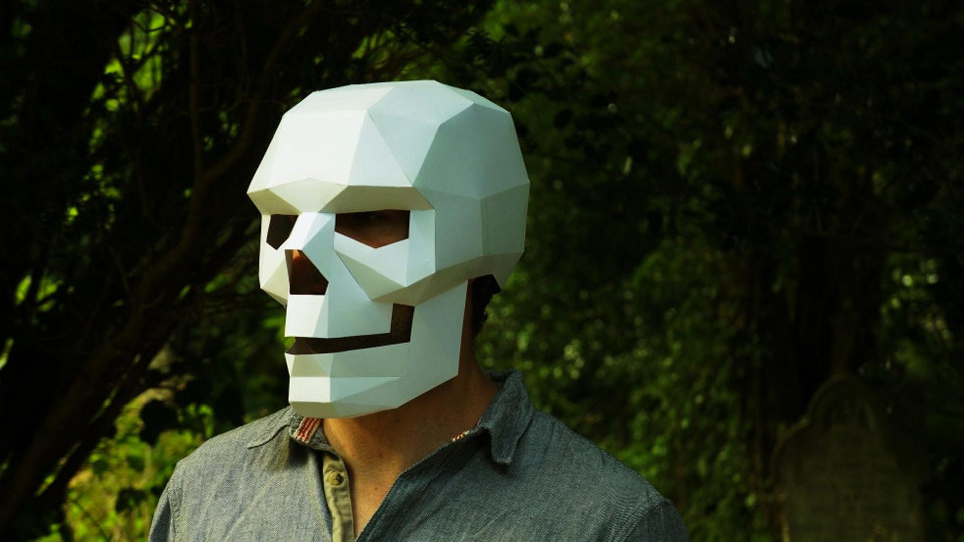 Как сделать маску из бумаги скелета